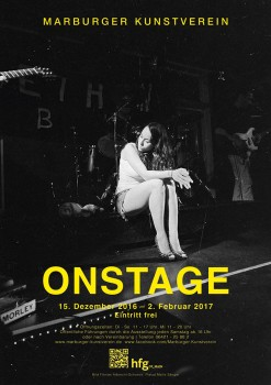 ON STAGE exhibition poster by Malte Sänger / used image by Veruschka Bohn