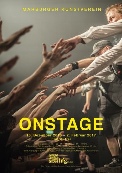 ON STAGE exhibition poster by Malte Sänger / used image by Florian Albrecht-Schoeck